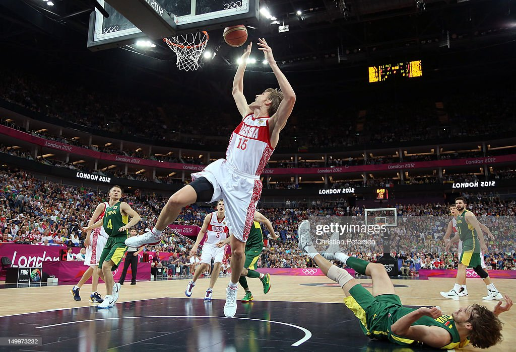Andrey Kirilenko #15 of Russia lays the ball up against Lithuania during the Men's Basketball quaterfinal game on Day 12 of the London 2012 Olympic Games at North Greenwich Arena on August 8, 2012 in London, England.
