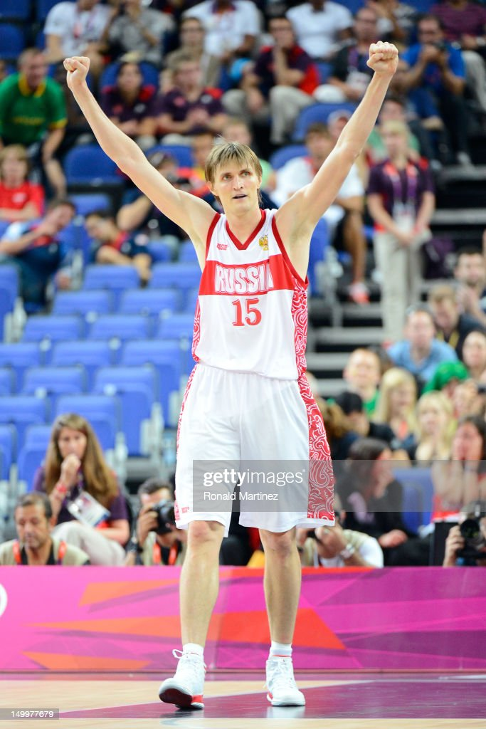 Andrey Kirilenko #15 of Russia reacts while taking on Lithuania late in the fourth quarter during the Men's Basketball quaterfinal game on Day 12 of the London 2012 Olympic Games at North Greenwich Arena on August 8, 2012 in London, England.