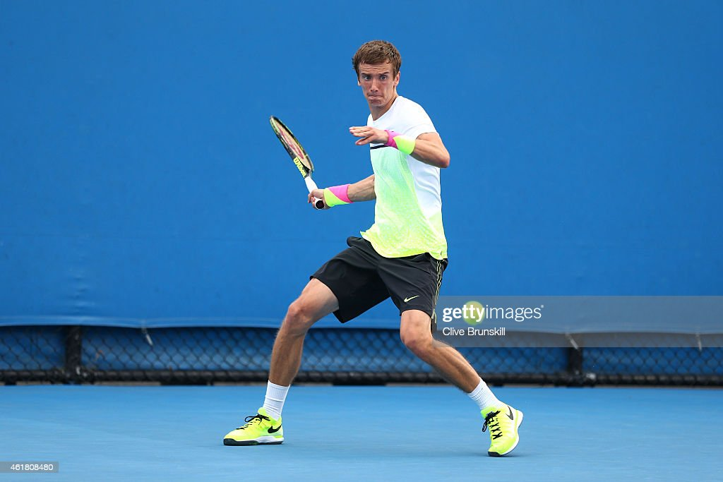 <a gi-track='captionPersonalityLinkClicked' href=/galleries/search?phrase=Andrey+Kuznetsov&family=editorial&specificpeople=5892238 ng-click='$event.stopPropagation()'>Andrey Kuznetsov</a> of Russia plays a forehand in his first round match against Albert Ramos of Spain during day two of the 2015 Australian Open at Melbourne Park on January 20, 2015 in Melbourne, Australia.