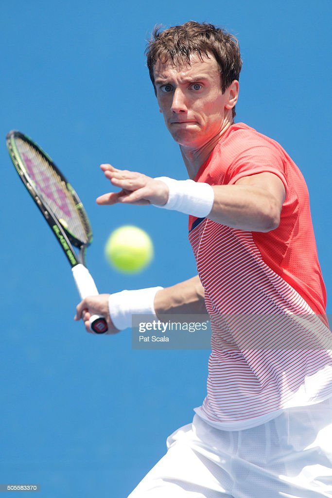 <a gi-track='captionPersonalityLinkClicked' href=/galleries/search?phrase=Andrey+Kuznetsov+-+Tennis+Player&family=editorial&specificpeople=5892238 ng-click='$event.stopPropagation()'>Andrey Kuznetsov</a> of Russia plays a forehand in his first round match against Ryan Harrison of the United States during day two of the 2016 Australian Open at Melbourne Park on January 19, 2016 in Melbourne, Australia.