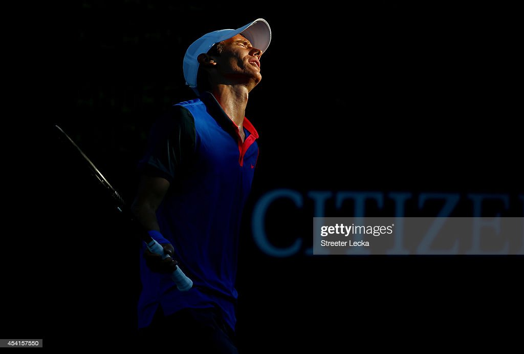 <a gi-track='captionPersonalityLinkClicked' href=/galleries/search?phrase=Andrey+Kuznetsov+-+Tennis+Player&family=editorial&specificpeople=5892238 ng-click='$event.stopPropagation()'>Andrey Kuznetsov</a> of Russia reacts against Bradley Klahn of the United States during his men's singles first round match on Day One of the 2014 US Open at the USTA Billie Jean King National Tennis Center on August 25, 2014 in the Flushing neighborhood of the Queens borough of New York City.