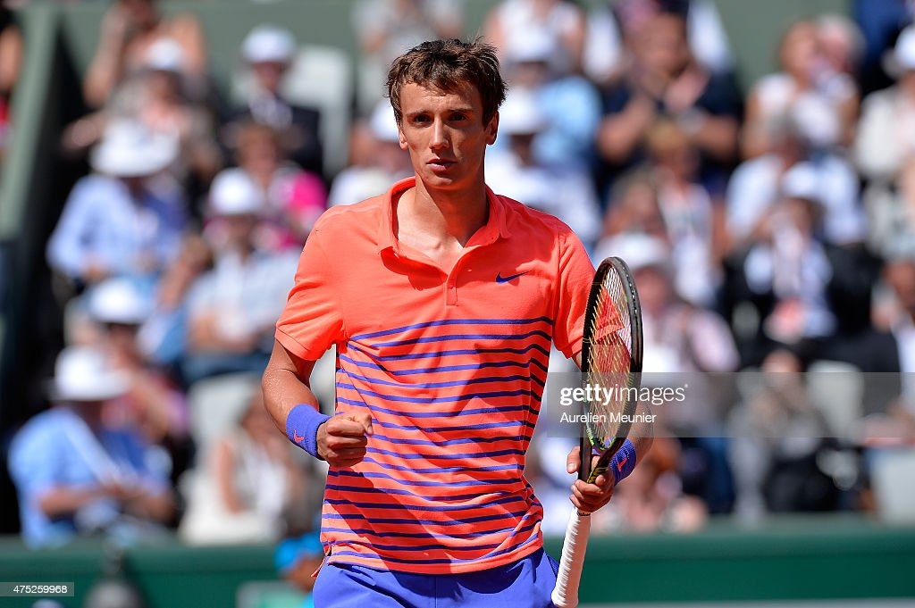 Andrey Kuznetsov of Russia reacts during the men's singles third round game against Rafael Nadal of Spain at Roland Garros on May 30, 2015 in Paris, France.