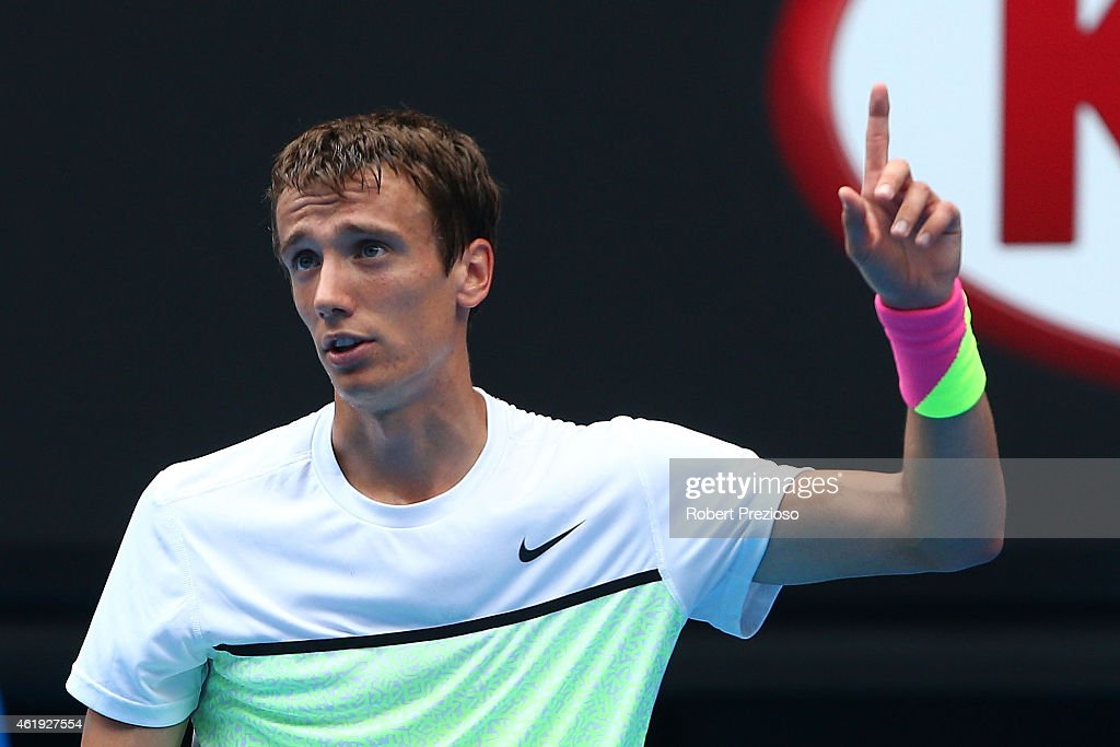 <a gi-track='captionPersonalityLinkClicked' href=/galleries/search?phrase=Andrey+Kuznetsov+-+Tennis+Player&family=editorial&specificpeople=5892238 ng-click='$event.stopPropagation()'>Andrey Kuznetsov</a> of Russia reacts in his second round match against Novak Djokovic of Serbia during day four of the 2015 Australian Open at Melbourne Park on January 22, 2015 in Melbourne, Australia.