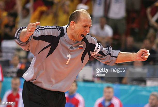 Andrey Lavrov of Russia reacts after Germany scored a goal against him in the men's handball Semi Finals on August 27 2004 during the Athens 2004...