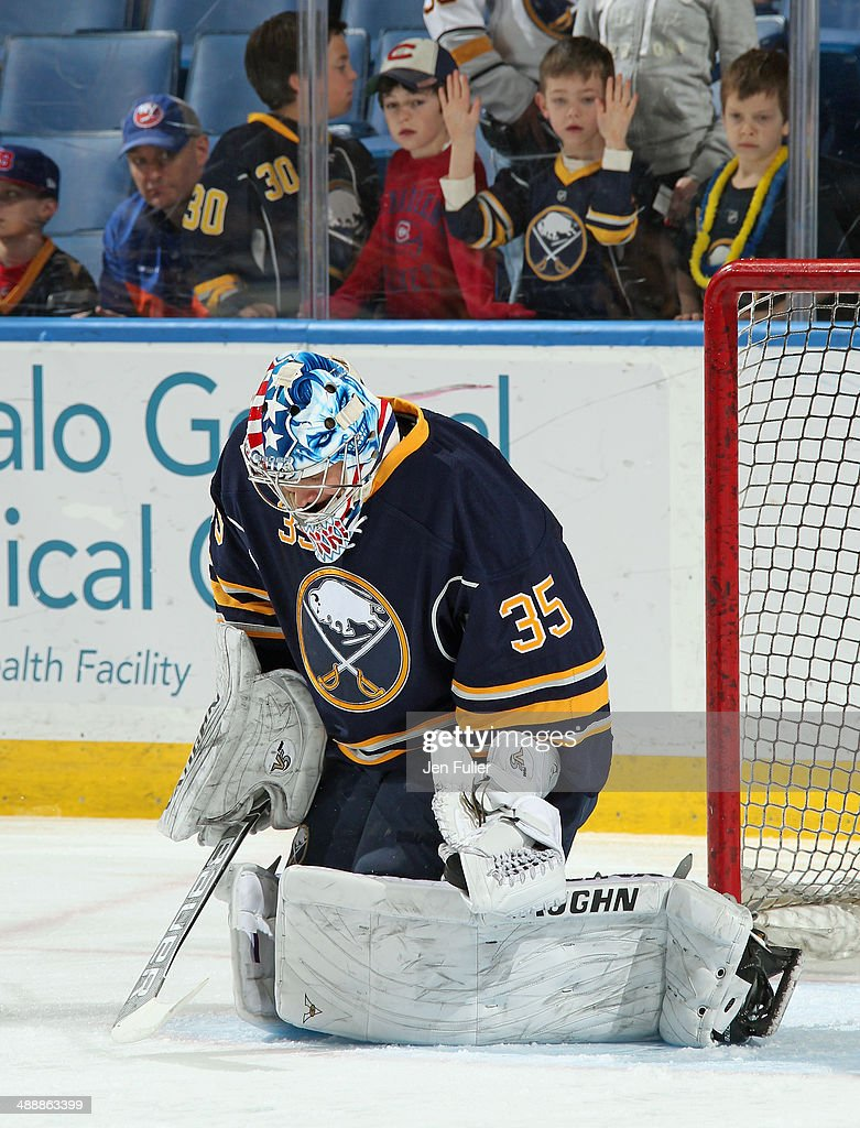 Andrey Makarov #35 of the Buffalo Sabres warms up to play the New York Islanders at First Niagara Center on April 13, 2014 in Buffalo, New York.