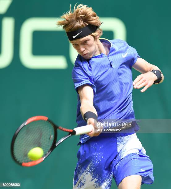 Andrey Rublev from Russia returns the ball to Karen Khachanov from Russia during his match against Andrey Rublev from Russia during the ATP...