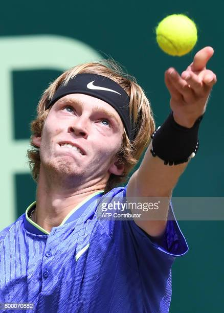 Andrey Rublev from Russia serves to Karen Khachanov from Russia during his match against Andrey Rublev from Russia during the ATP tournament tennis...