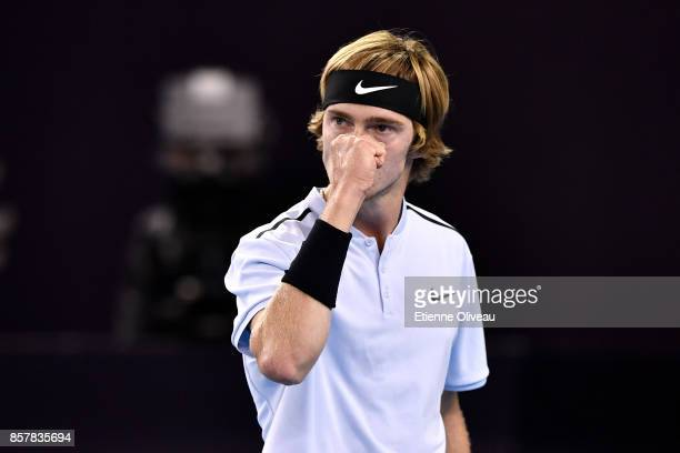 Andrey Rublev of Russia celebrates a point during his MenÕs singles second round match against Tomas Berdych of the Czech Republic on day six of the...