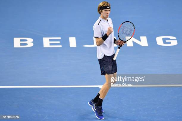 Andrey Rublev of Russia celebrates a point during his Men's singles second round match against Tomas Berdych of the Czech Republic on day six of the...