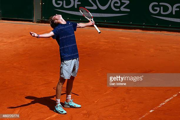 Andrey Rublev of Russia celebrates match point in his boys' singles final match against Jaume Antoni Munar Clar of Spain on day fourteen of the...