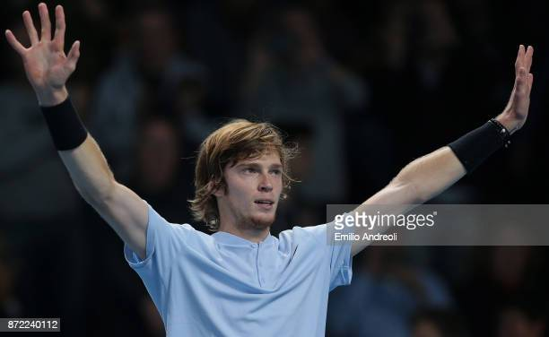 Andrey Rublev of Russia celebrates the victory at the end of the match against Denis Shapovalov of Canada during Day 3 of the Next Gen ATP Finals on...