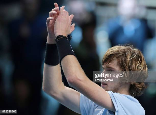 Andrey Rublev of Russia celebrates the victory at the end of the match against Borna Coric of Croatia during the semi finals on day 4 of the Next Gen...