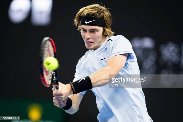 Andrey Rublev of Russia competes during the Men's singles quarterfinal match against Alexander Zverev of Germany on day seven of the 2017 China Open...