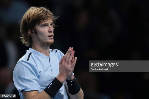 Andrey Rublev of Russia greets the fans at the end of the match against Denis Shapovalov of Canada during Day 3 of the Next Gen ATP Finals on...