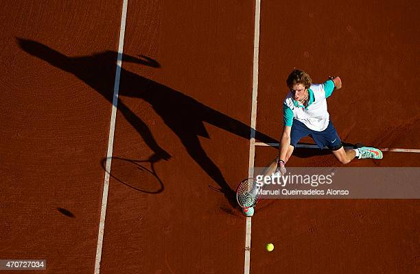 Andrey Rublev of Russia in action against Fabio Fognini of Italy during day three of the Barcelona Open Banc Sabadell at the Real Club de Tenis...
