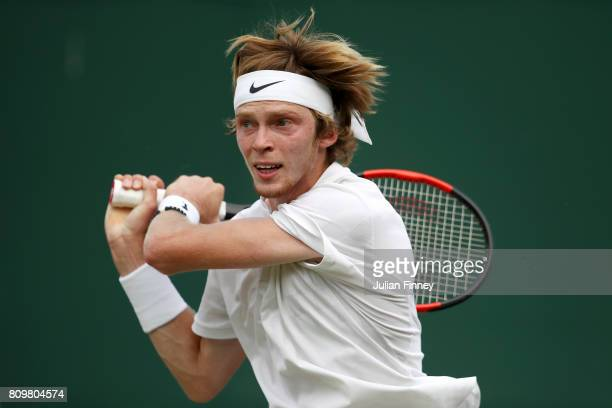 Andrey Rublev of Russia plays a backhand during the Gentlemen's Singles second round match against Albert RamosVinolas of Spain day four of the...