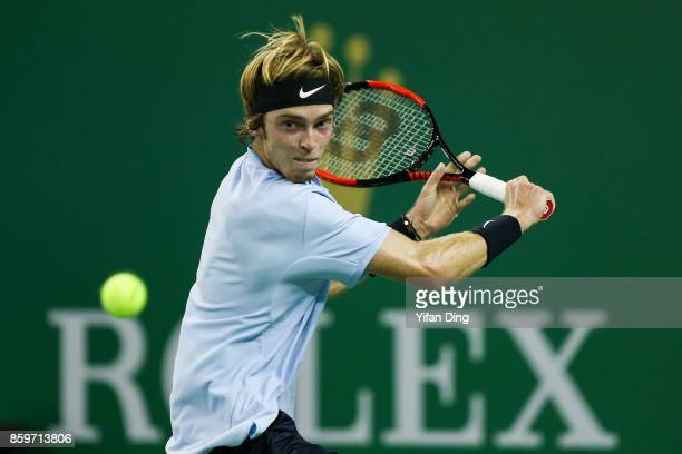 Andrey Rublev of Russia plays a backhand during the Men's singles mach against JuanMartin Del Potro of Argentina on day 3 of Shanghai Rolex Masters...