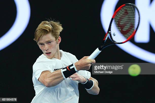 Andrey Rublev of Russia plays a forehand in his second round match against Andy Murray of Great Britain on day three of the 2017 Australian Open at...