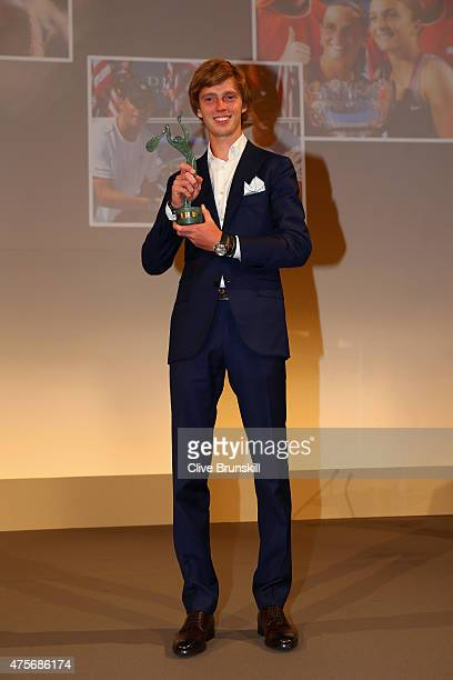 Andrey Rublev of Russia poses at the ITF World Champions Gala Dinner after day ten of the 2015 French Open at Pavillon Cambon Capucines on June 2...