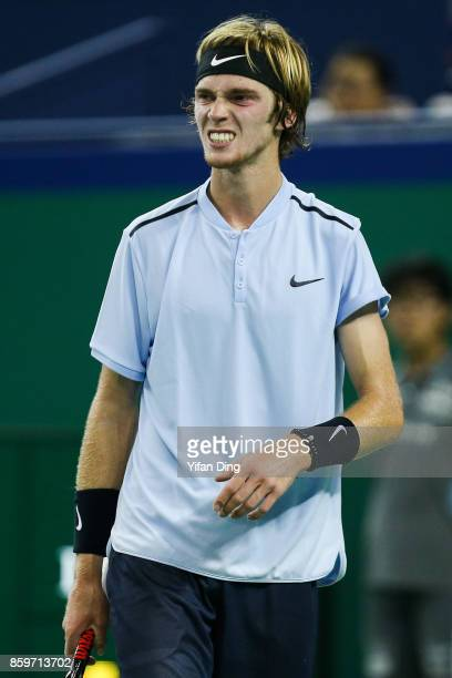 Andrey Rublev of Russia reacts aftering losing a point during the Men's singles mach against JuanMartin Del Potro of Argentina on day 3 of Shanghai...