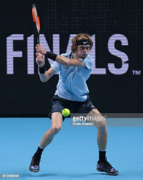 Andrey Rublev of Russia returns a backhand in his match against Borna Coric of Croatia during the semi finals on day 4 of the Next Gen ATP Finals on...