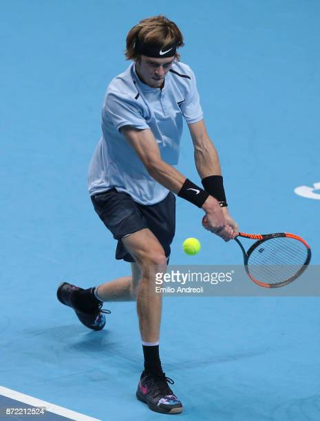 Andrey Rublev of Russia returns a backhand in his match against Denis Shapovalov of Canada during Day 3 of the Next Gen ATP Finals on November 9 2017...