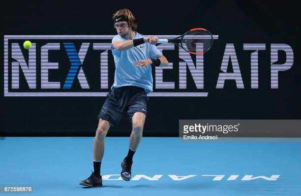Andrey Rublev of Russia returns a forehand in his match against Borna Coric of Croatia during the semi finals on day 4 of the Next Gen ATP Finals on...