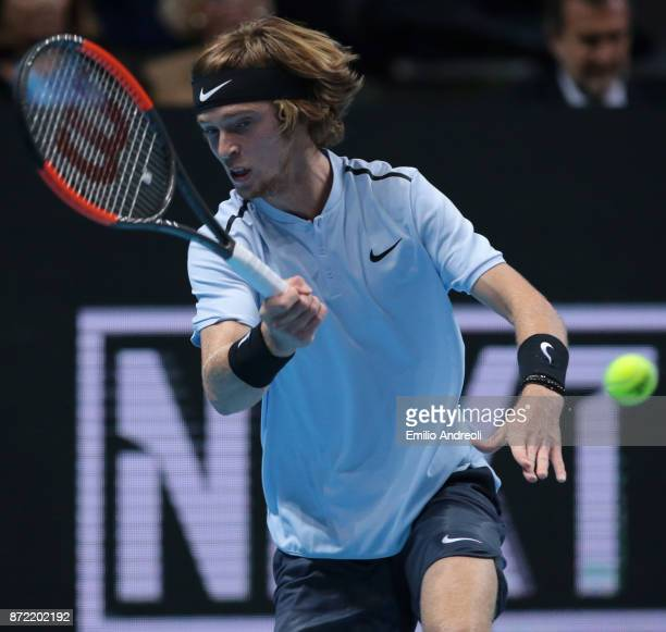 Andrey Rublev of Russia returns a forehand in his match against Denis Shapovalov of Canada during Day 3 of the Next Gen ATP Finals on November 9 2017...