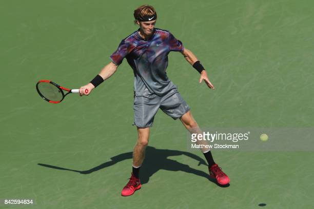 Andrey Rublev of Russia returns a shot against David Goffin of Belgium during their fourth round Men's Singles match on Day Eight of the 2017 US Open...