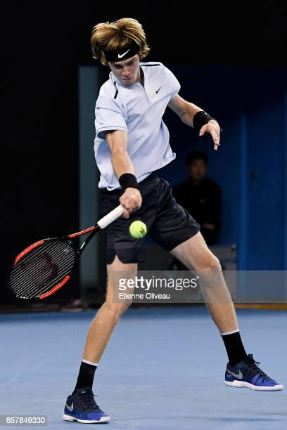 Andrey Rublev of Russia returns a shot against Tomas Berdych of the Czech Republic during his Men's singles second round match on day six of the 2017...