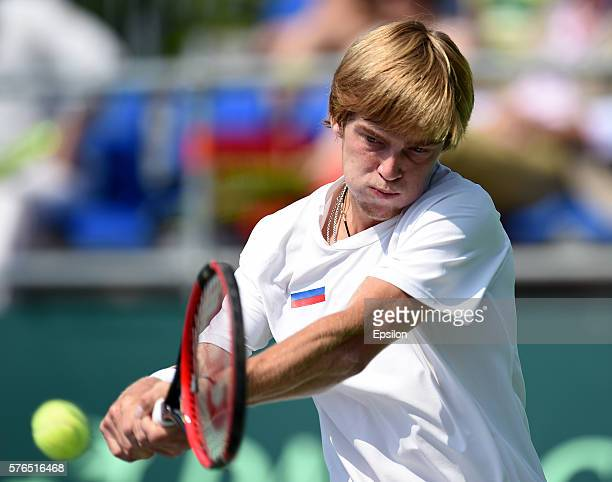 MOSCOW RUSSIA JULY 15 Andrey Rublev of Russia returns the ball to Robin Haase of Netherlands during the Davis Cup second round tie between Russia and...