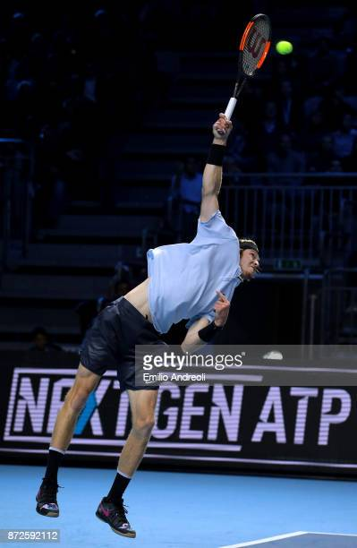 Andrey Rublev of Russia serves the ball in his match against Borna Coric of Croatia during the semi finals on day 4 of the Next Gen ATP Finals on...