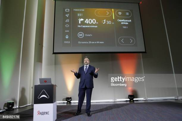 Andrey Vasilevskiy head of Yandex Automobile Lab speaks during the presentation of YandexAuto connected services at the headquarters of Yandex NV in...