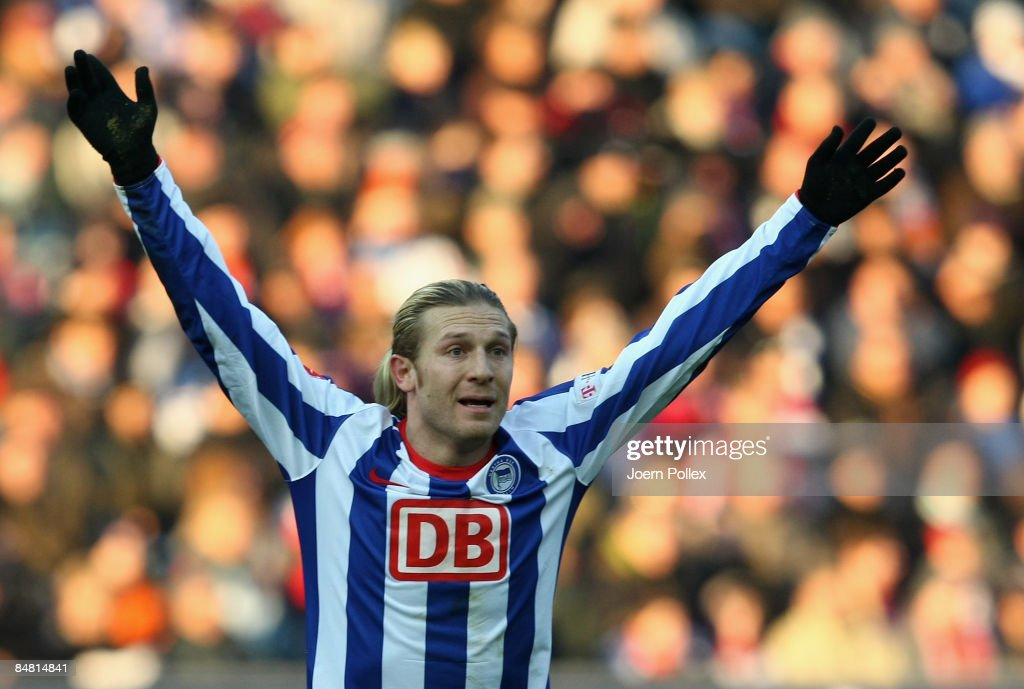 Andrey Voronin of Berlin gestures during the Bundesliga match between Hertha BSC Berlin and FC Bayern Muenchen at the Olympic stadium on February 14...