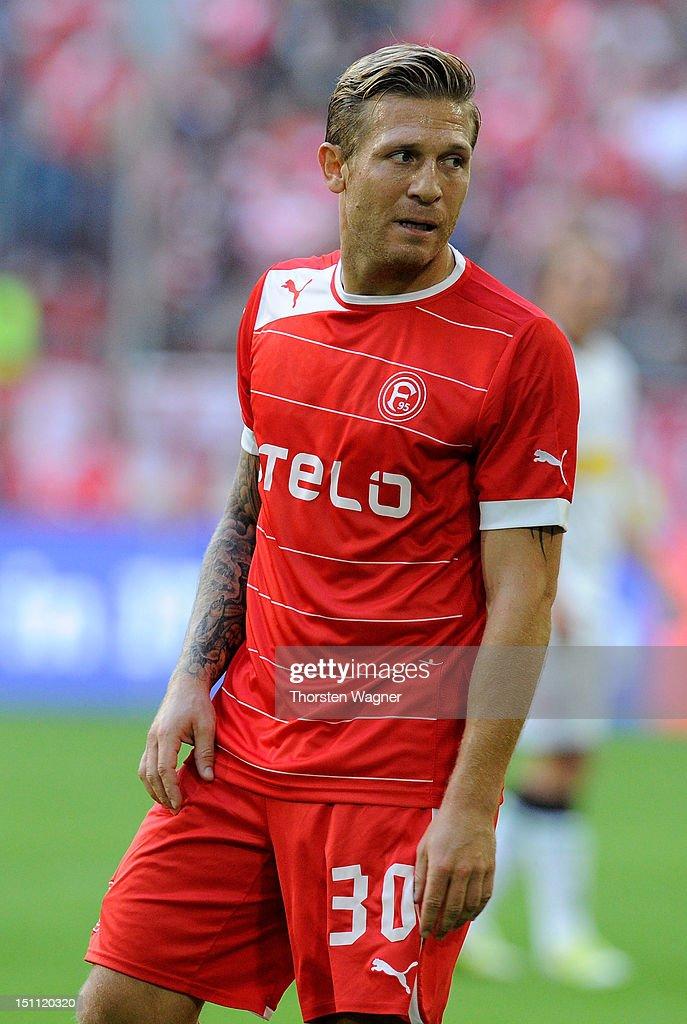Andrey Voronin of Duesseldorf gestures during the Bundesliga match between Fortuna Duesseldorf and Borussia Moenchengladbach at EspritArena on...