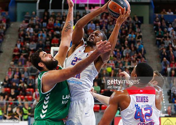 Andrey Vorontsevich #20 of CSKA Moscow competes with Ioannis Bourousis #9 of Laboral Kutxa Vitoria Gasteiz during the Turkish Airlines Euroleague...