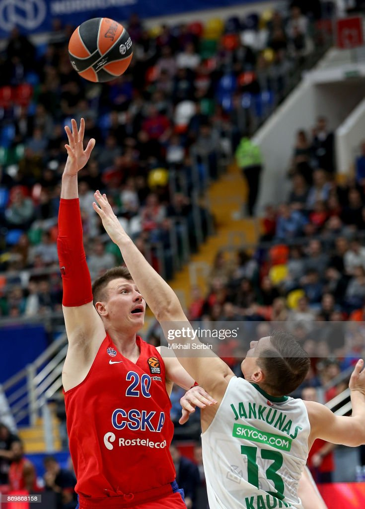 Andrey Vorontsevich, #20 of CSKA Moscow competes with Paulius Jankunas, #13 of Zalgiris Kaunas in action during the 2017/2018 Turkish Airlines EuroLeague Regular Season Round 5 game between CSKA Moscow and Zalgiris Kaunas at Megasport Arena on November 3, 2017 in Moscow, Russia.