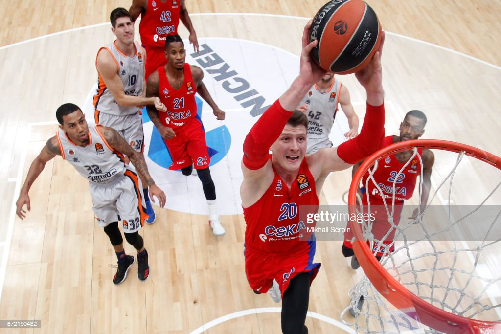 Andrey Vorontsevich, #20 of CSKA Moscow in action during the 2017/2018 Turkish Airlines EuroLeague Regular Season Round 6 game between CSKA Moscow and Valencia Basket at Megasport Arena on November 9, 2017 in Moscow, Russia.