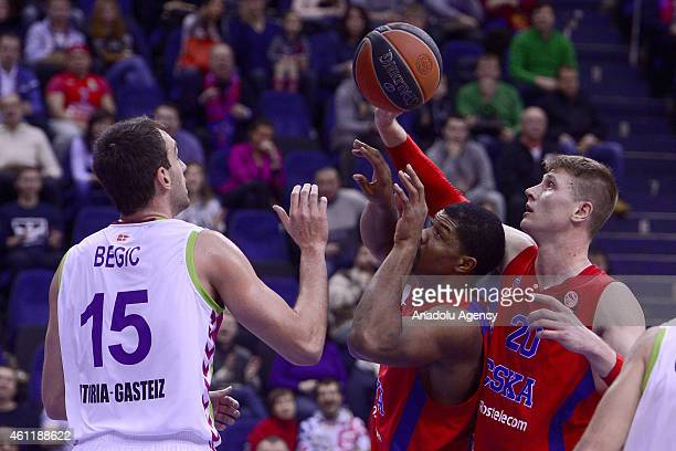 Andrey Vorontsevich and Kyle Hines of CSKA Moscow in action against his rival during their Euroleague Top16 group F basketball match in Moscow on...