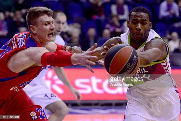 Andrey Vorontsevich of CSKA Moscow in action against his rival during their Euroleague Top16 group F basketball match in Moscow on January 8 2015