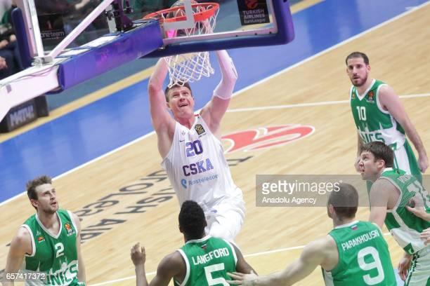 Andrey Vorontsevich of CSKA Moscow in action against Pavel Antipov Keith Langford Artsiom Parakhouski Evgeny Voronov end Joaquin Colom of UNICS Kazan...