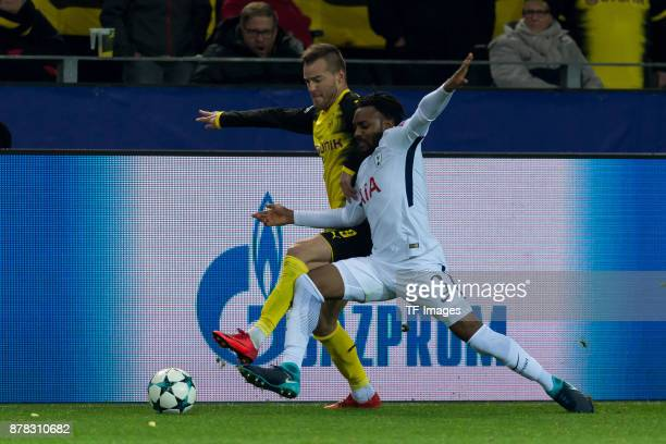 Andrey Yarmolenko of Borussia Dortmund and Danny Rose of Tottenham Hotspur battle for the ball during the UEFA Champions League group H match between...