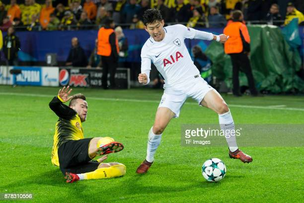 Andrey Yarmolenko of Borussia Dortmund and HeungMin Son of Tottenham Hotspur battle for the ball during the UEFA Champions League group H match...