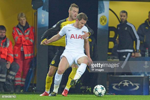 Andrey Yarmolenko of Borussia Dortmund and Jan Vertonghen of Tottenham Hotspur battle for the ball during the UEFA Champions League group H match...