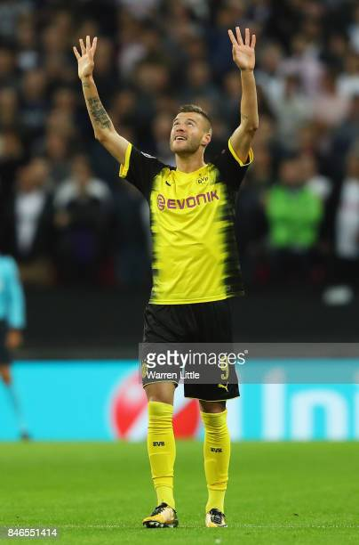 Andrey Yarmolenko of Borussia Dortmund celebrates scoring his sides first goal during the UEFA Champions League group H match between Tottenham...
