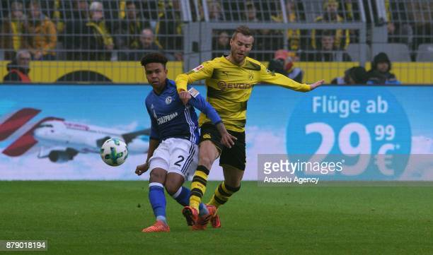 Andrey Yarmolenko of Dortmund against Weston McKennie of Schalke during Bundesliga soccer match between Borussia Dortmund and FC Schalke 04 at the...