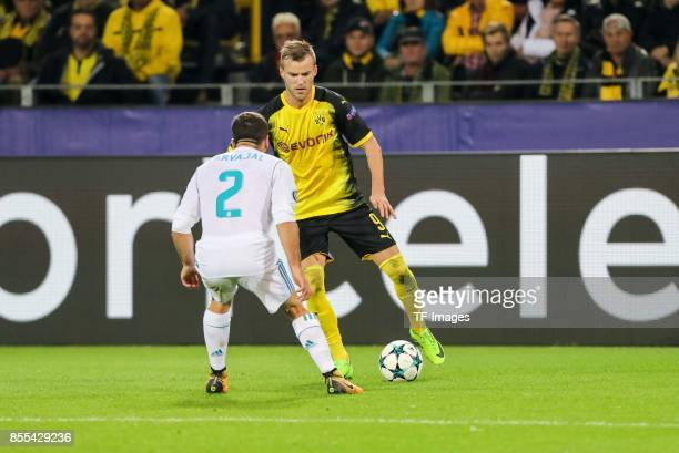 Andrey Yarmolenko of Dortmund and Dani Carvajal of Real Madrid battle for the ball during the UEFA Champions League group H match between Borussia...