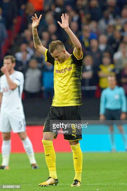 Andrey Yarmolenko of Dortmund celebrates after scoring his team`s first goal during the UEFA Champions League group H match between Tottenham Hotspur...
