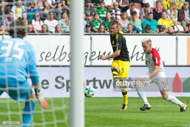 Andrey Yarmolenko of Dortmund in action during the Bundesliga match between FC Augsburg and Borussia Dortmund at WWKArena on September 30 2017 in...