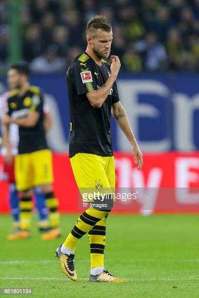 Andrey Yarmolenko of Dortmund looks on during the Bundesliga match between Hamburger SV and Borussia Dortmund at Volksparkstadion on September 20...